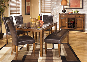Lacey Rectangular Dining Table w/ 4 Side Chairs & Bench