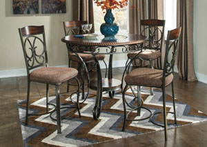 Glambrey Round Counter Height Table w/ 4 Barstools