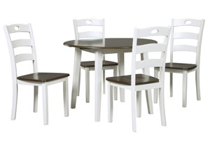 Woodanville White/Brown Round Dining Room Drop Leaf Table w/4 Side Chairs,Direct To Consumer Express