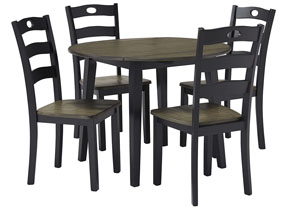 Image for Froshburg Grayish Brown/Black Round Drop Leaf Table w/4 Side Chairs