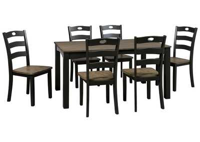 Image for Froshburg Grayish Brown/Black 7 Piece Dining Room Table Set
