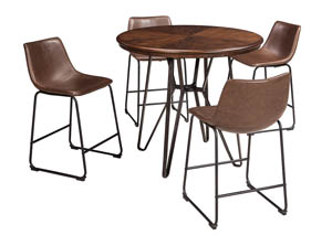 Image for Centiar Two-Tone Brown Round Dining Room Counter Table w/4 Upholstered Barstools