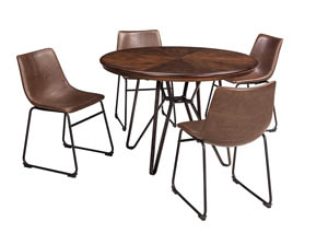 Image for Centiar Two-Tone Brown Round Dining Room Table w/4 Upholstered Side Chairs