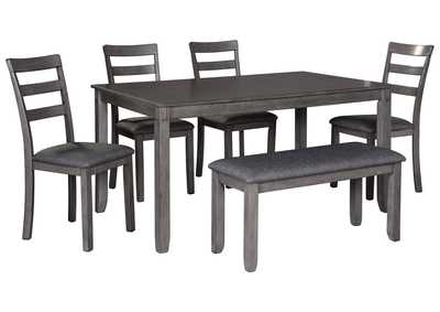 Image for Bridson Gray Dining Table w/Chair and Bench (Set of 6)