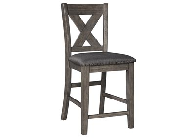 Image for Caitbrook Dark Gray Upholstered Bar Stool (Set of 2)