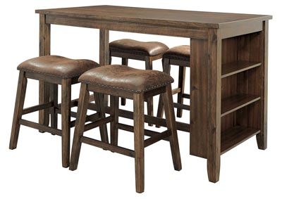 Image for Chaleny Warm Brown Counter Table w/4 Bar Stool