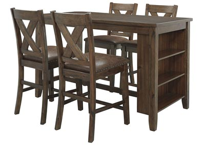 Image for Chaleny Warm Brown Counter Table w/4 Counter Chair