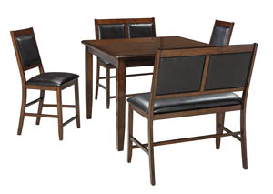 Meredy Brown Dining Room Counter Table Set