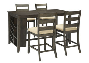 Rokane Brown Rectangular Counter Table w/Storage and 4 Upholstered Barstools