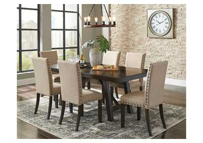 Rokane Light Brown Dining Table w/6 Side Chairs,Signature Design By Ashley