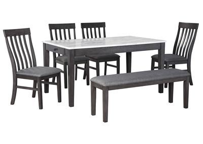 Image for Luvoni Charcoal Dining Table w/4 Side Chair and Bench