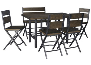 Kavara Medium Brown Rectangular Dining Room Counter Table w/ 4 Side Chairs and Double Barstool