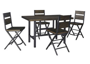 Kavara Medium Brown Rectangular Dining Room Counter Table w/ 4 Stools,Signature Design By Ashley