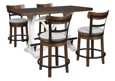 Valebeck Brown Counter Height Dining Table w/4 Backed Brown Barstools