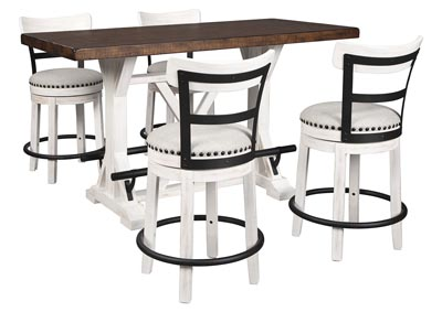 Valebeck Brown Counter Height Dining Table w/4 Backed White Barstools