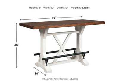 Valebeck White/Brown Counter Table,Signature Design By Ashley