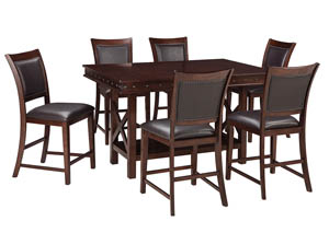 Image for Collenburg Dark Brown Rectangular Dining Room Counter Extension Table w/6 Upholstered Barstools