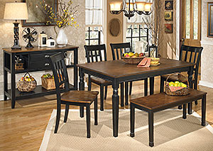 Owingsville Rectangular Dining Table w/ 4 Side Chairs & Bench