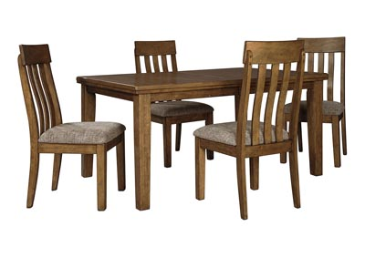 Flaybern Light Brown Extension Dining Table w/4 Side Chairs