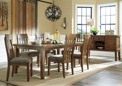 Flaybern Light Brown Extension Dining Table w/6 Side Chairs