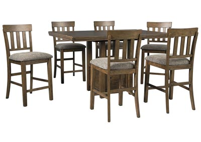 Flaybern Brown Counter Height Table w/6 Bar Stools