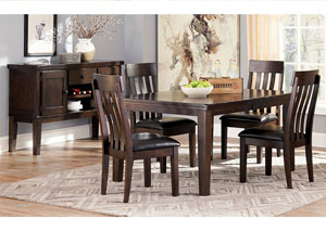 Image for Haddigan Dark Brown Rectangle Dining Room Extension Table w/ 4 Upholstered Side Chairs & Server
