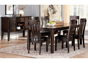 Image for Haddigan Dark Brown Rectangle Dining Room Extension Table w/ 6 Upholstered Side Chairs & Server