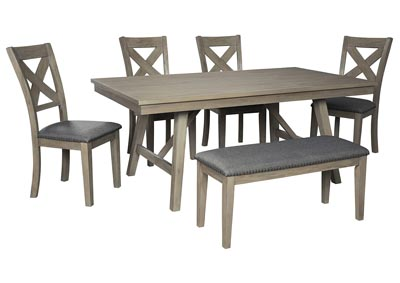 Aldwin Gray Dining Table w/4 Side Chairs & Bench