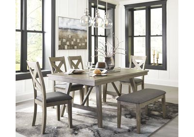 Aldwin Gray Dining Table w/4 Side Chairs & Bench,Signature Design By Ashley