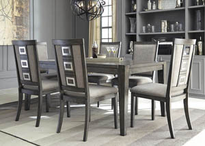 Image for Chadoni Gray Rectangular Dining Room Extension Table w/ 6 Upholstered Side Chairs