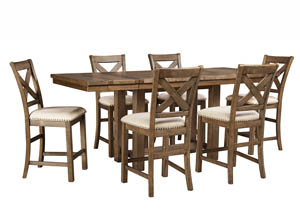 Image for Moriville Gray Rectangular Dining Room Counter Extension Table w/6 Upholstered Barstools