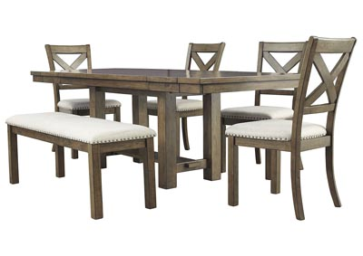 Moriville Beige Dining Table w/4 Side Chairs & Bench