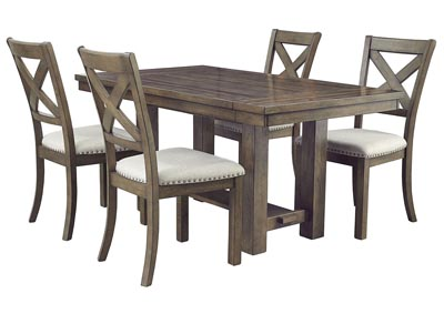 Moriville Beige Dining Table w/4 Side Chairs,Signature Design By Ashley