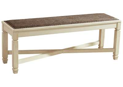 Image for Bolanburg Antique White Large Upholstered Dining Room Bench