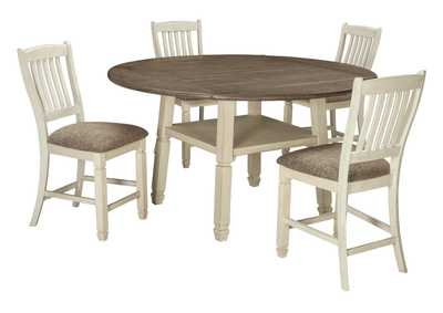 Image for Bolanburg Antique White Round Drop Leaf Counter Table w/4 Upholstered Barstools