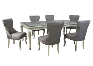 Image for Coralayne Silver Finish Rectangular Dining Room Extension Table w/ 6 Side Chairs