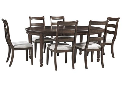Image for Adinton Reddish Brown Dining Extendable Table w/6 Side Chair