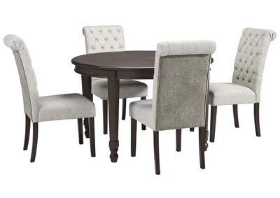 Image for Adinton Reddish Brown Dining Extendable Table w/4 Upholstered Chair