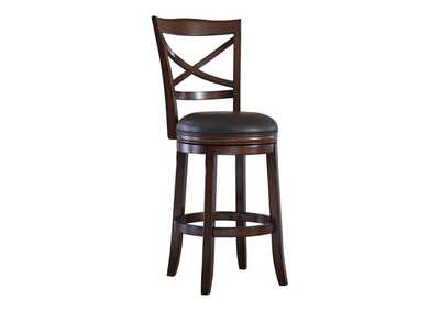 Image for Porter Rustic Brown Tall Upholstered Swivel Barstool (Set of 2)