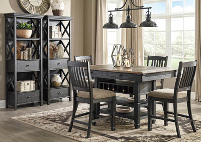 Tyler Creek Black/Grayish Brown 7 Piece Counter Height Dining Set w/4 Counter Height Chairs & 2 Display Cabinets
