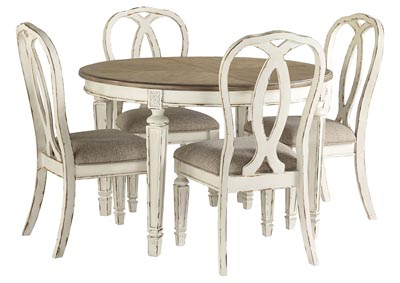 Realyn Chipped White Dining Set w/4 Ribbon Back Side Chairs