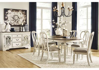 Realyn Chipped White Dining Set w/6 Ribbon Back Side Chairs,Signature Design By Ashley