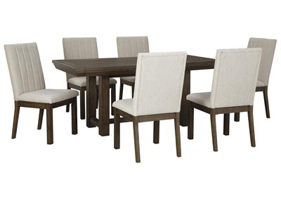 Image for Dellbeck Brown Dining Table w/6 Side Chair