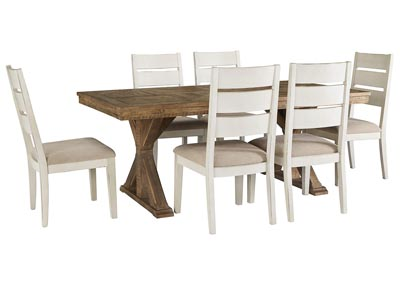 Image for Grindleburg Light Brown Rectangular Dining Table w/6 White Side Chairs