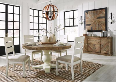Grindleburg Round Dining Table w/4 White Side Chairs,Signature Design By Ashley