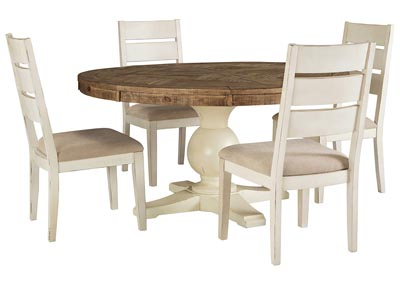 Grindleburg Round Dining Table w/4 White Side Chairs