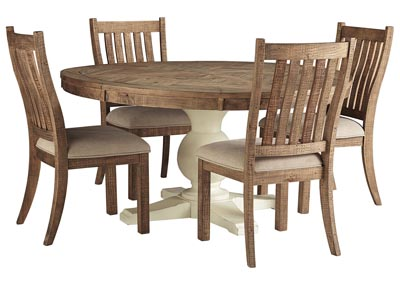 Image for Grindleburg Round Dining Table w/4 Brown Side Chairs