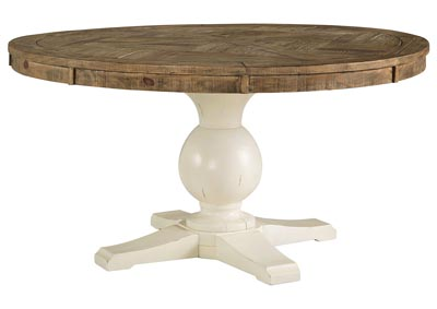 Grindleburg White/Light Brown Round Dining Room Table,Signature Design By Ashley