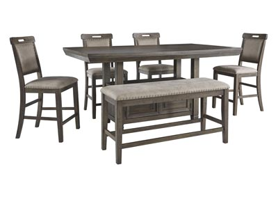 Image for Johurst Grayish Brown Counter Table w/4 Bar Stool and Bench