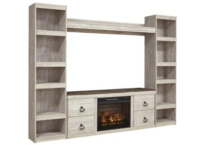 Image for Willowton Whitewash Entertainment Center w/Fireplace Insert Infrared